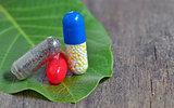 Pills over green leaf nut