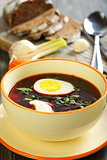 Vegetable soup with beet.