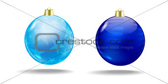 Blue and light blue Christmas tree balls.