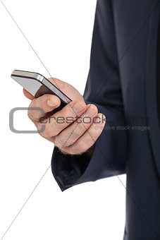 adult businessman with smartphone mobilephone isolated