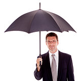 mature attractive business man with umbrella isolated