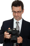 adult man photographer with digital camera dslr isolated