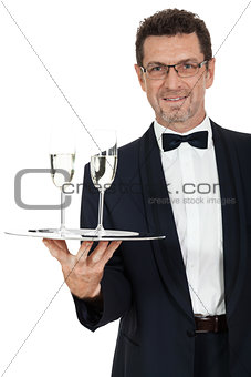 adult male waiter serving two glass of champagne isolated