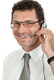 smiling mature male operator businessman with headset call senter