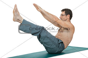 adult smiling man doing workout sport fitness isolated on white