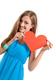smiling young woman and red heart love valentines day
