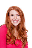 young smiling redhead woman portrait isolated expression