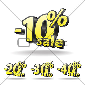 Sixty, Seventy, eighty, ninety percent discount icon on white background.