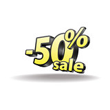 Fifty percent discount icon on white background.