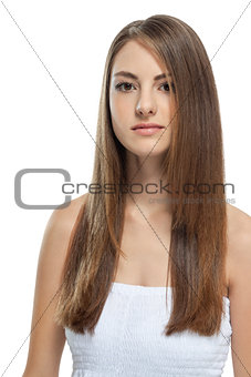 beautiful bruntte woman with straight long hair isolated