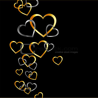 gold and silver hearts