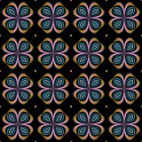 Seamless fractal pattern with flowers on a black background