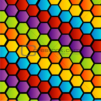 Background with colorful hexagon