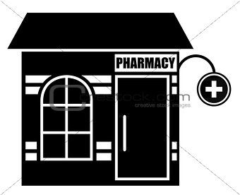 Black icon of pharmacy