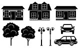 Black icons of houses, trees and machines