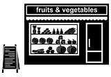 Black icon of shop of fruit
