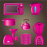 Set pink cookware and kitchen appliances