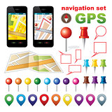 Navigation set with icons GPS.