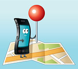 Smartphone with GPS icon.