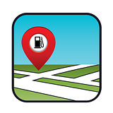 Street map icon with the pointer gas station.