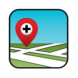 Street map icon with the pointer pharmacies, hospitals.