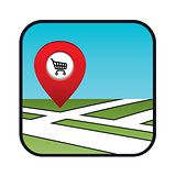Street map icon with the pointer supermarket.