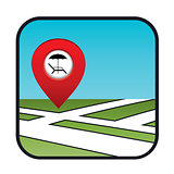 Street map icon with the pointer beach vacation.