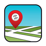 Street map icon with the pointer fish restaurant.