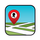 Street map icon with the pointer beauty salon.