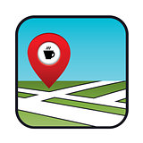 Street map icon with the pointer coffee shops, cafes.