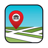 Street map icon with the pointer bank.