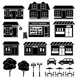 Set of icons of houses and shops