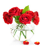 Bunch red roses in glass vase