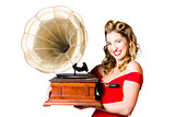 Beautiful woman with gramophone isolated on white