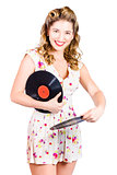 DJ disco pin-up girl rocking out to retro vinyl