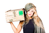 Backup pinup girl wearing army helmet and supplies