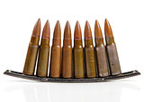 gun bullets isolated on white background