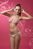 bikini girl listening music