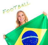 Happy woman with Brazil flag
