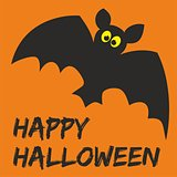 Happy Halloween party card with bat and hand drawn wishes