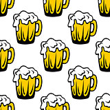 Pint of frothy beer seamless background pattern