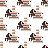 Seamless pattern of steaming coffee