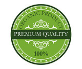 Green colored premium quality label