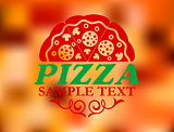 Pizza label on red colorful background
