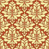 Orange and beige seamless damask pattern