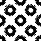 Black seamless gears or cogwheels pattern