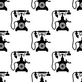 Vintage telephone seamless pattern