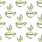 Cups of herbal tea seamless pattern