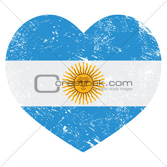 Argentina retro heart shaped flag