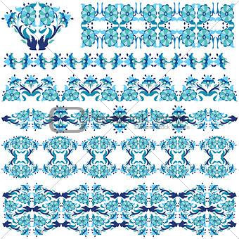 blue oriental border and ornament eleven
